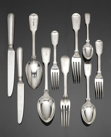 A Victorian  Provincial silver Fiddle and Thread pattern table service of flatware stamped MAYER, Exeter 1855