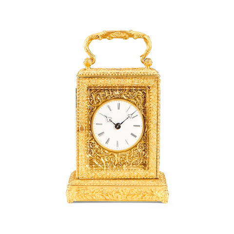 A late 19th century French gilt brass carriage clock by Moser, Paris
