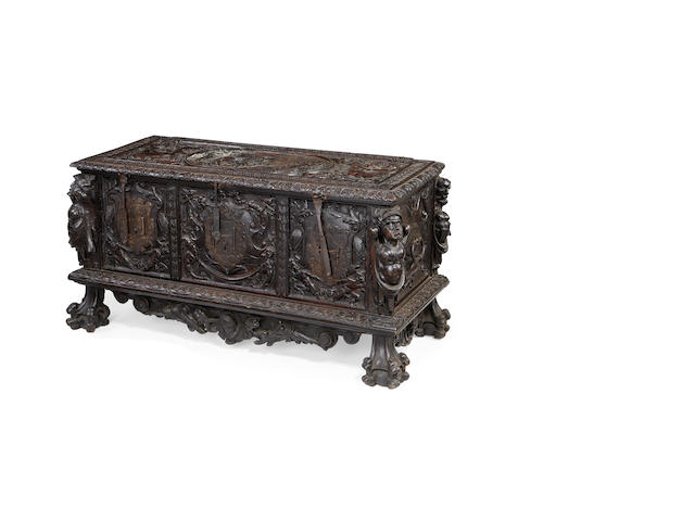 An Italian 19th century carved walnut cassonein the Mannerist style