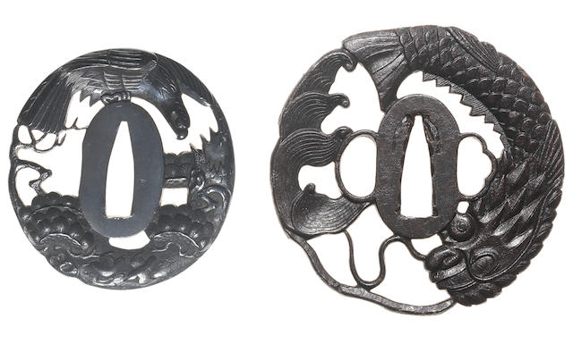 Two tsuba of shakudo and iron 19th century