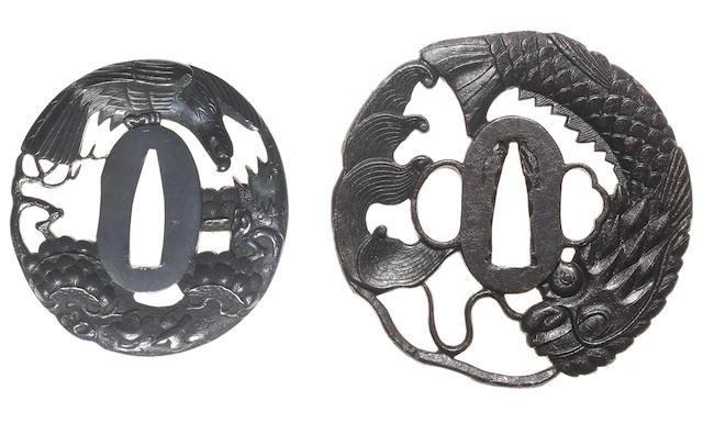 Two tsuba of shakudo and iron 19th century