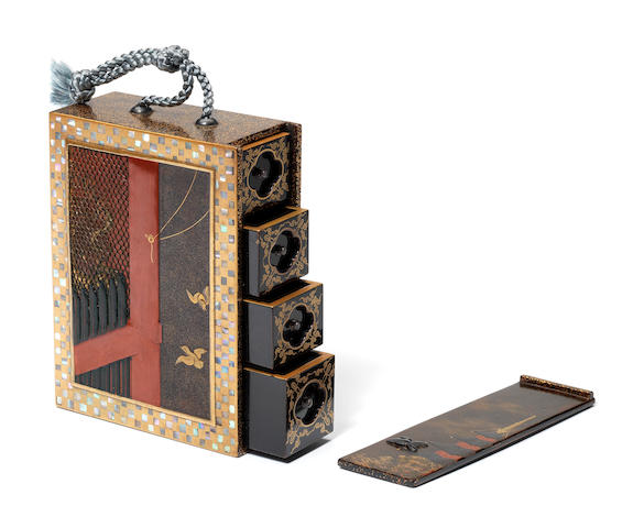 An unusual lacquered square inro By Koma Kansai, 19th century