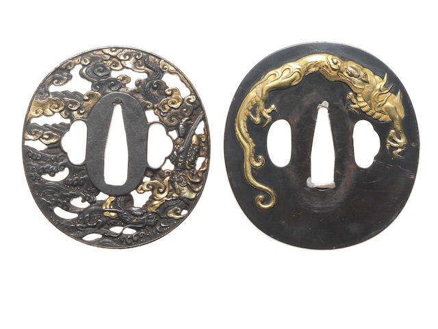 Two tsuba of iron and shakudo 19th century