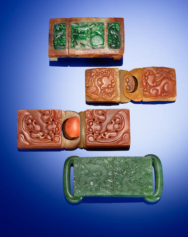Four jade belt buckles