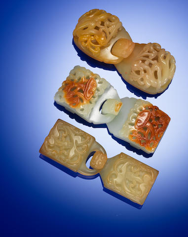 Three jade belt buckles Qing dynasty