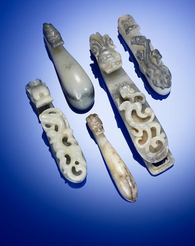 Five black and white jade belt hooks Yuan to Qing dynasty