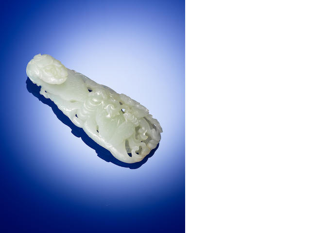 A superb white jade 'butterfly' belt buckle