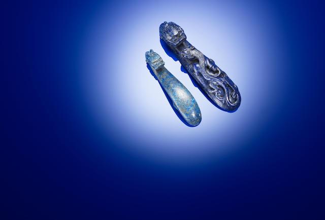Two lapis lazuli belt hooks