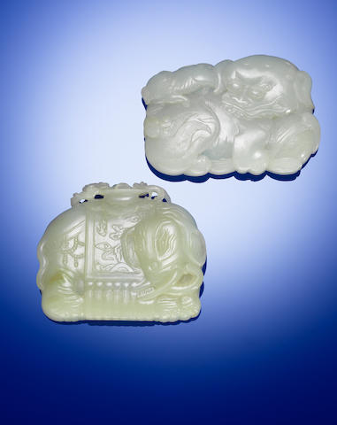 Two white jade 'Buddhist lion and elephant' belt plaques Qing dynasty