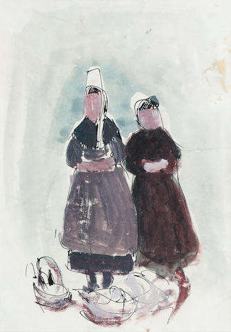 Anne Redpath, OBE RSA ARA LLD ARWS ROI RBA (British, 1895-1965) Two Standing Breton Women 26 x 18 cm. (10 1/4 x 7 1/16 in.)