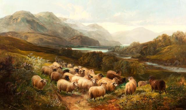 Joseph Denovan Adam, RSA RSW (British, 1842-1896) Sheep in an extensive Highland Landscape 76 x 127 cm. (30 x 50 in.)