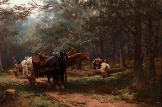 David Farquarson (British, 1839-1907) Timber Wagon The Timber Wagon  34.5 x 52 cm. (13 9/16 x 20 1/2 in.)