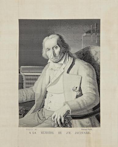 Joseph-Marie Jacquard (1752-1854) A fine woven silk La Mémoire portrait