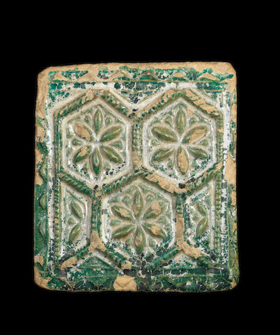A rare Samanid monochrome moulded pottery Tile Persia, 10th Century