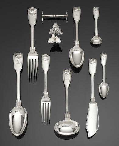 A Victorian silver Fiddle, Thread and Shell pattern table service of flatware, partially contained in a fitted canteen box predominately by Elizabeth Eaton, London 1848 - 1854, together with a 19th century boxwood strung and mahogany knife box, containing twelve modern table knives and twelve dessert knives, by C J Vander Ltd, London 1955 - 60, with steel blades