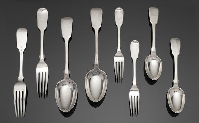 A Victorian provincial silver Fiddle pattern table service of flatware by Robert, James & Josiah Williams, Exeter 1842  (42)