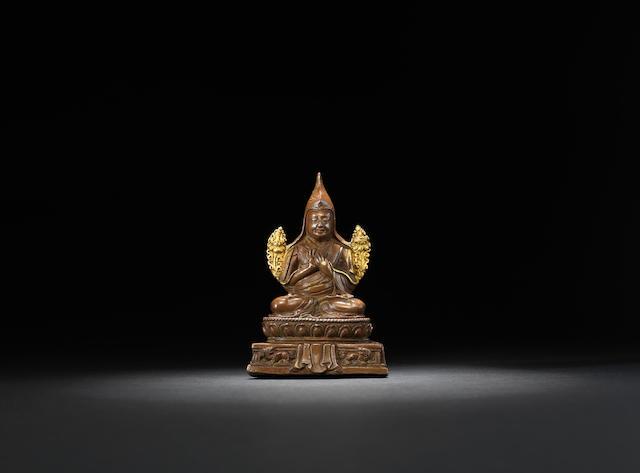 A partial gilt-bronze Tsong Khapa Qianlong