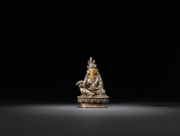 A cast silver Padmasambhava Qing dynasty, 18th century