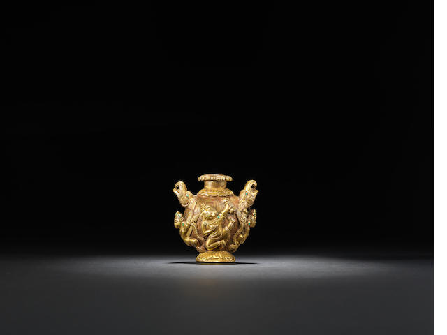 A gilt-bronze bottle vase Tibet/Nepal, 18th century