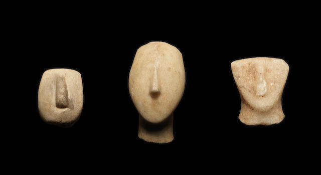 Three Cycladic marble heads 3