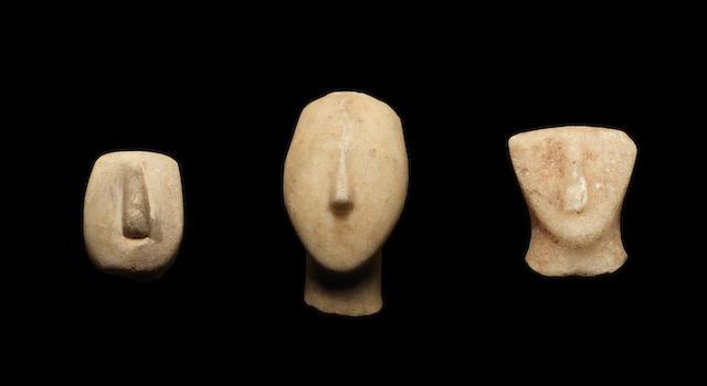 Three Cycladic marble heads 3