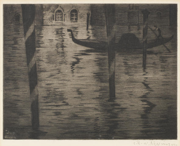 Christopher Richard Wynne Nevinson A.R.A. (British, 1889-1946) Venice Night (Guichard 94) Etching printed with tone, c.1922, on laid, signed in pencil, with full margins, 139 x 175mm (5 1/2 x 7in) (PL)