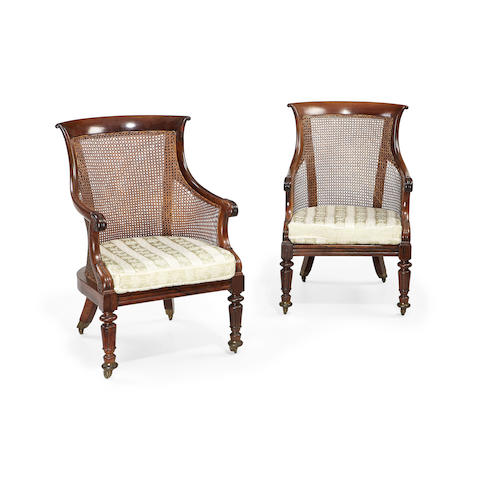 A pair of William IV rosewood library bergères