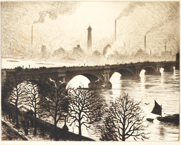 Christopher Richard Wynne Nevinson A.R.A. (British, 1889-1946) Waterloo Bridge from a Savoy Window Etching with drypoint printed with tone, 1925, on laid, signed in pencil, from the edition of 75, with margins, 275 x 350mm (10 3/4 x 13 3/4in)(PL) unframed