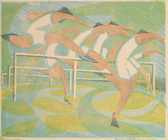 William Greengrass (British, 1896-1970) Hurdlers Linocut printed in colours, 1932, on japanese mulberry tissue, signed, titled, dated and numbered 14 in pencil, with margins, 233 x 283mm (9 1/8 x 11 1/8in)(B) unframed