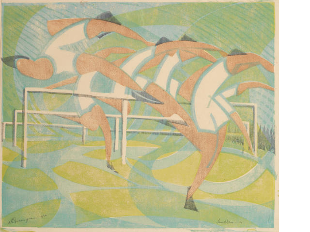 William Greengrass (British, 1896-1970) Hurdlers Linocut printed in colours, 1932, on japanese mulberry tissue, signed, titled, dated and numbered '14' in pencil, with margins, 233 x 283mm (9 1/8 x 11 1/8in)(B) unframed