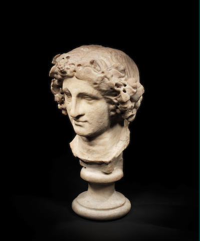 A Roman marble head of Dionysus