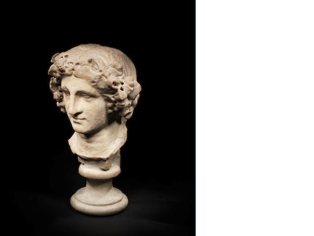 A Roman marble head of Dionysus - RESHOOT for wonky eyes