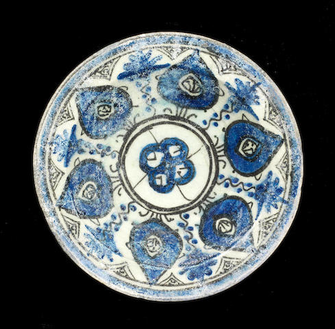 A Mamluk underglaze painted pottery Dish Egypt or Syria, 14th Century