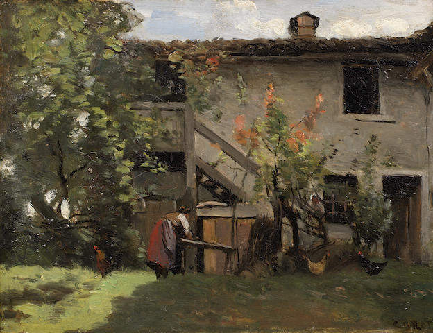 Jean-Baptiste-Camille Corot (French, 1796-1875) Basse cour