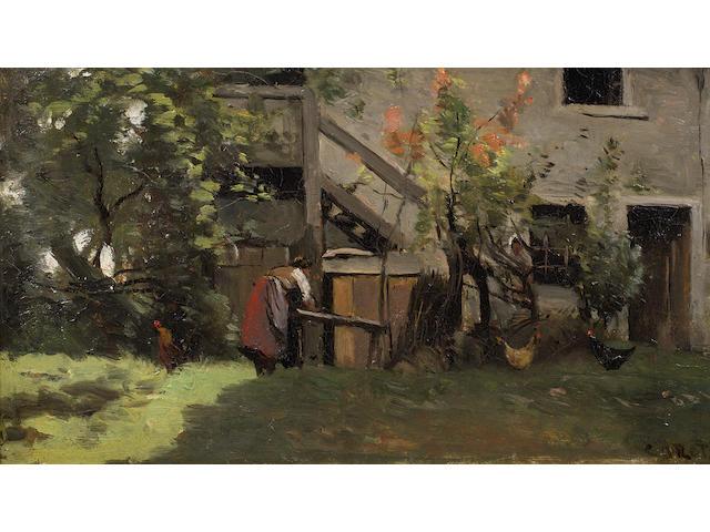 Jean-Baptiste-Camille Corot (French, 1796-1875) Cour de ferme dans le Limousin