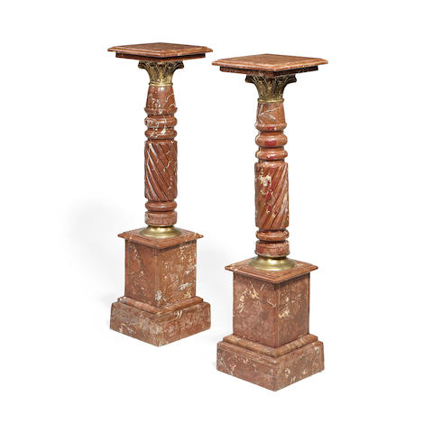 A pair of Rouge Griotte and gilt metal mounted pedestals