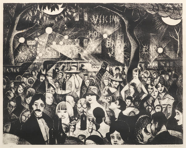 Christopher Richard Wynne Nevinson A.R.A. (British, 1889-1946) Sur La Terrasse, Parnasse (Leicester Galleries 61) Lithograph, c.1925, a good impression with strong contrasts, on smooth wove, signed and numbered 19 in pencil, from an edition not exceeding 75, with margins, 390 x 495mm (5 3/8 x 19 1/2in) (I)