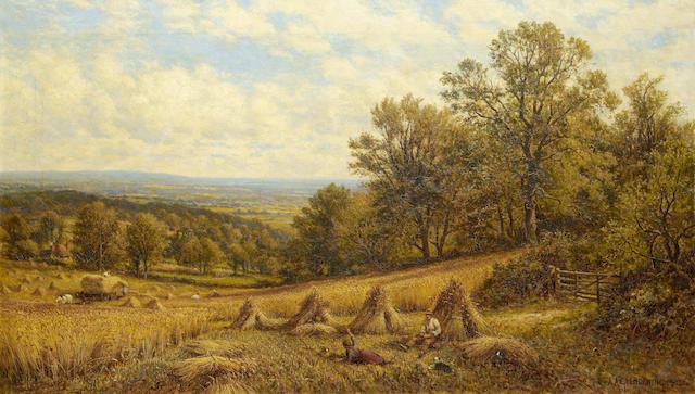 Alfred Augustus Glendening (British, 1840-1921) Harvest scene near Dorking, Surrey