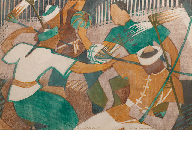 Lill Tschudi (Swiss, 1911-2001) Chinese Jugglers  The linocut printed in viridian, yellow ochre and light brownish purple, 1934, one of only a few colour variants within the edition of 50, on thin off-white oriental laid, signed, numbered 21/50 and inscribed 'Handprint' in pencil, with margins?, 230 x 331mm (9 x 13in)(B)  this impression referenced in coppel