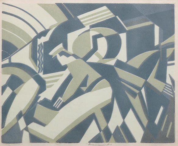Leonard Beaumont (British, 1891-1986) The Boat Express (I) Linocut printed in colours, 1934, on buff oriental laid, signed in pencil, with margins, 230 x 280mm (9 x 11in)(B)
