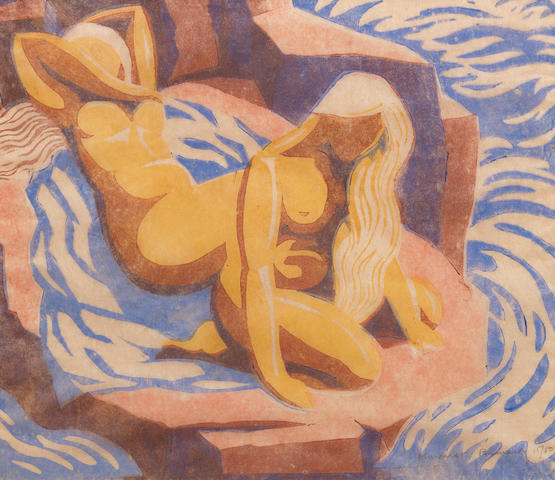 Margaret Barnard (British, 1900-1992) Sun Bathers Linocut printed in colours, on oriental laid tissue, signed and numbered 15/50 in pencil, with margins, 220 x 250mm (8 5/8 x 9 7/8in)(B)