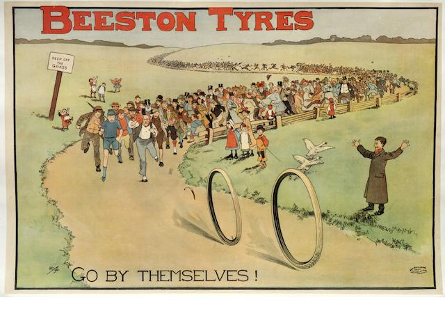 A fine 'Beeston Tyres go by themselves!' advertising poster after John Hassall, 1896,