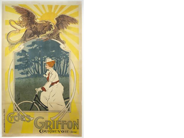 A large 'Cycles Griffon' advertising poster after Misti (Ferdinand Mifilez 1865-1923),