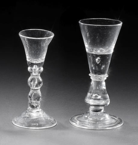 Two baluster wine glasses, one with a drop knop (chip to merese), the other a gin glass with bobbin stem