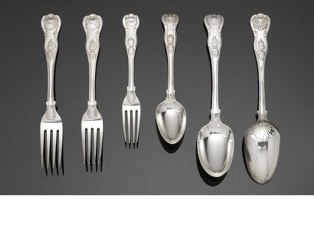 A William IV silver King's pattern table service of flatware predominately by William Chawner, London 1832  (Qty)