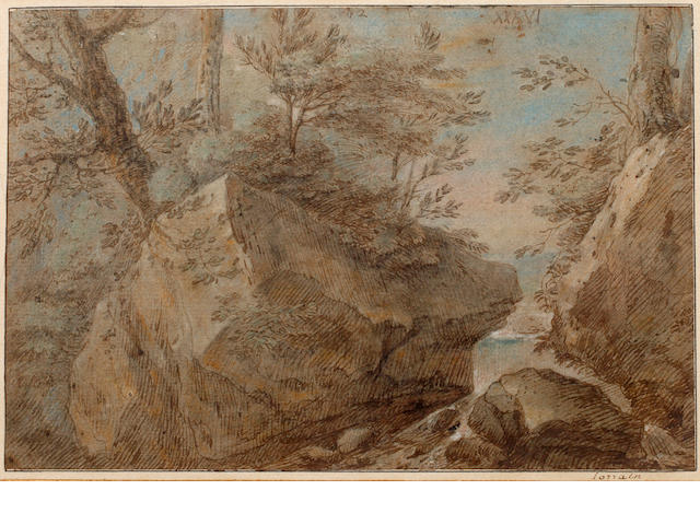 French School, late 18th Century Landscape with rocks and trees  (2)