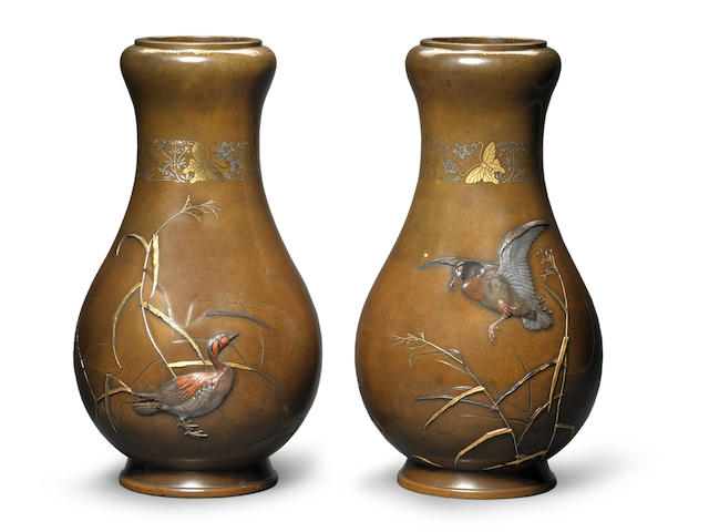A fine pair of inlaid bronze vases Attributed to Suzuki Chokichi for the Kiryu Kosho Kaisha Company, Meiji Period