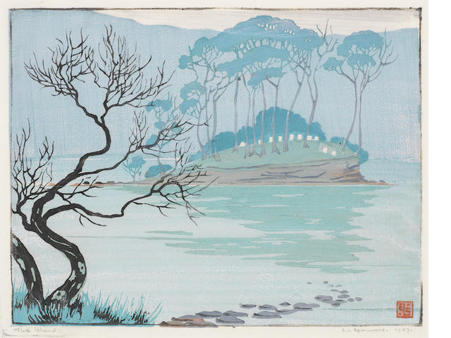 Ethel Spowers (Australian, 1890-1947) The Island of the Dead Linocut printed in blue-green, greyish blue, green, black and reddish brown, 1927, a richly inked impression, on thin white oriental laid, signed, titled 'The Island' and dated in pencil, with the artist's tablet monogram, with margins, 190 x 275mm (7 1/2 x 9 3/4in)(B)