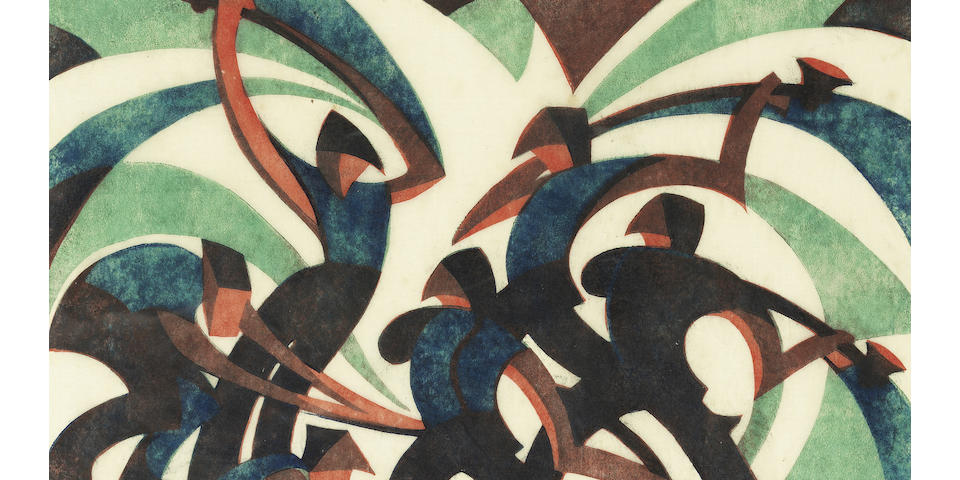 Sybil Andrews, CPE (British/Canadian, 1898-1993) Sledgehammers (Coppel SA 26) Linocut printed in spectrum red, viridian and Chinese blue, 1933, a richly inked impression, on buff oriental laid tissue, signed, titled and numbered 24/60 in pencil, with margins, 202 x 228mm (8 x 9in) (B)