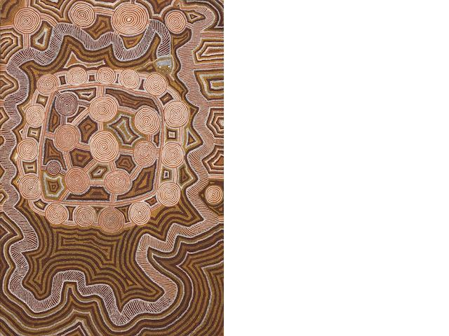 Yala Yala Gibbs Tjungurrayi (circa 1925-1998) Untitled (Tingari Men's Campsite at Patantja, South West of Lake MacDonald: Kuningka and Snake Dreaming), 1988